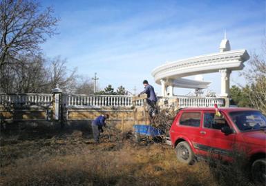 Очищаем территорию рядом с поселком
